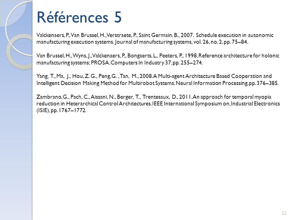 Références 5 52 Valckenaers, P., Van Brussel, H., Verstraete, P., Saint Germain, B., 2007. Schedule execution in autonomic manufacturing execution sys