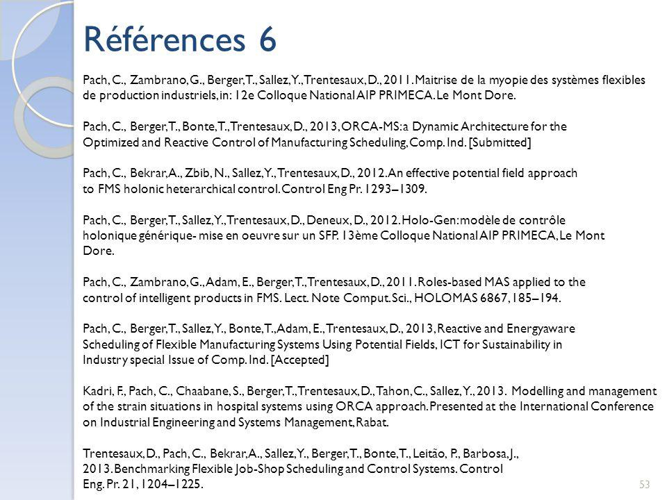 Pach, C., Zambrano, G., Berger, T., Sallez, Y., Trentesaux, D., 2011. Maitrise de la myopie des systèmes flexibles de production industriels, in: 12e