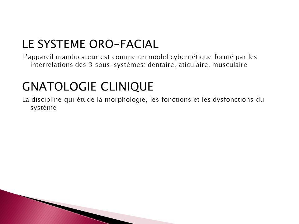 LE SYSTEME ORO-FACIAL Lappareil manducateur est comme un model cybernétique formé par les interrelations des 3 sous-systèmes: dentaire, aticulaire, mu