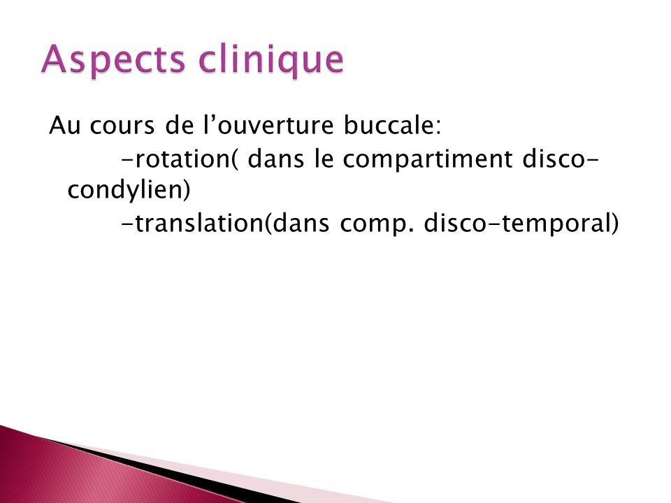 Au cours de louverture buccale: -rotation( dans le compartiment disco- condylien) -translation(dans comp. disco-temporal)