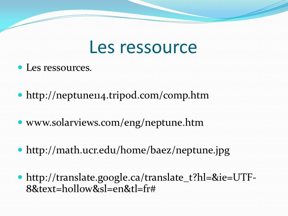 Les ressource Les ressources.