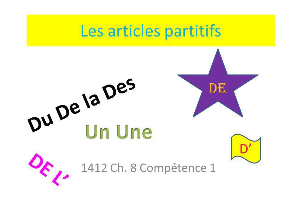 Les articles partitifs 1412 Ch. 8 Compétence 1 DE DE L D