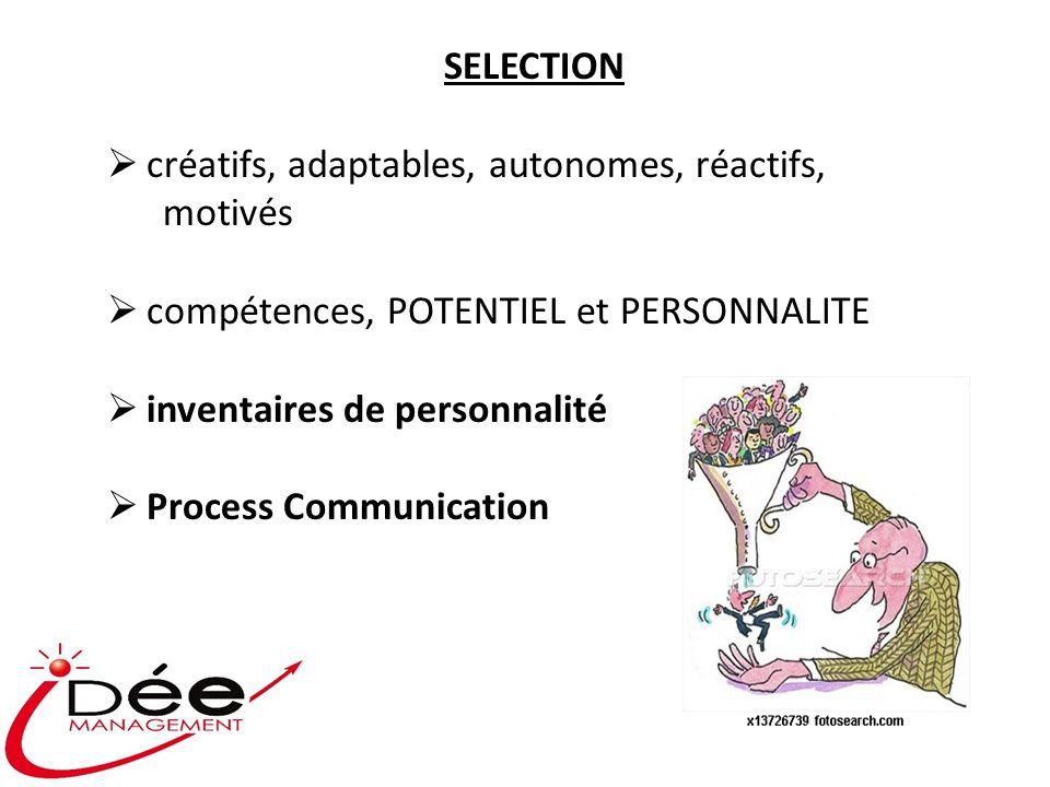 SELECTION créatifs, adaptables, autonomes, réactifs, motivés compétences, POTENTIEL et PERSONNALITE inventaires de personnalité Process Communication