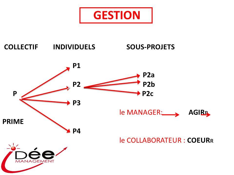 COLLECTIF INDIVIDUELS SOUS-PROJETS P1 P2a P2P2b P P2c P3 le MANAGER: AGIR R PRIME P4 le COLLABORATEUR : COEUR R GESTION