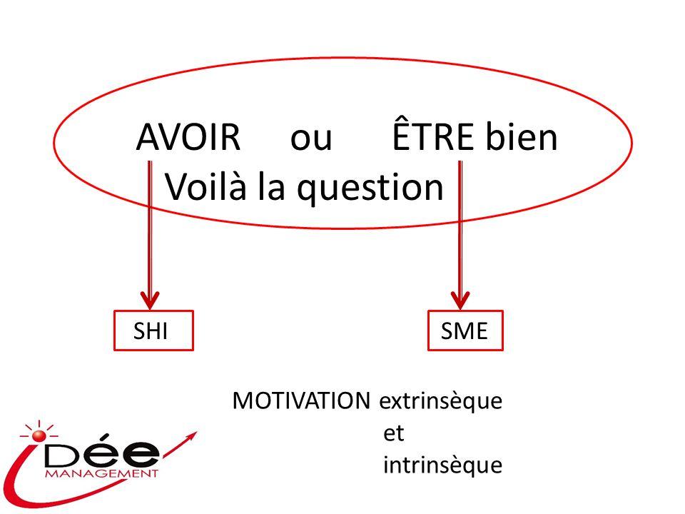 AVOIR ou ÊTRE bien Voilà la question SHI SME MOTIVATION extrinsèque et intrinsèque