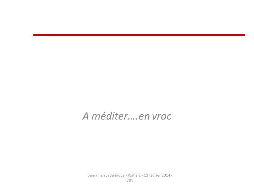 A méditer….en vrac Semaine académique - Poitiers - 13 février 2014 - CBV