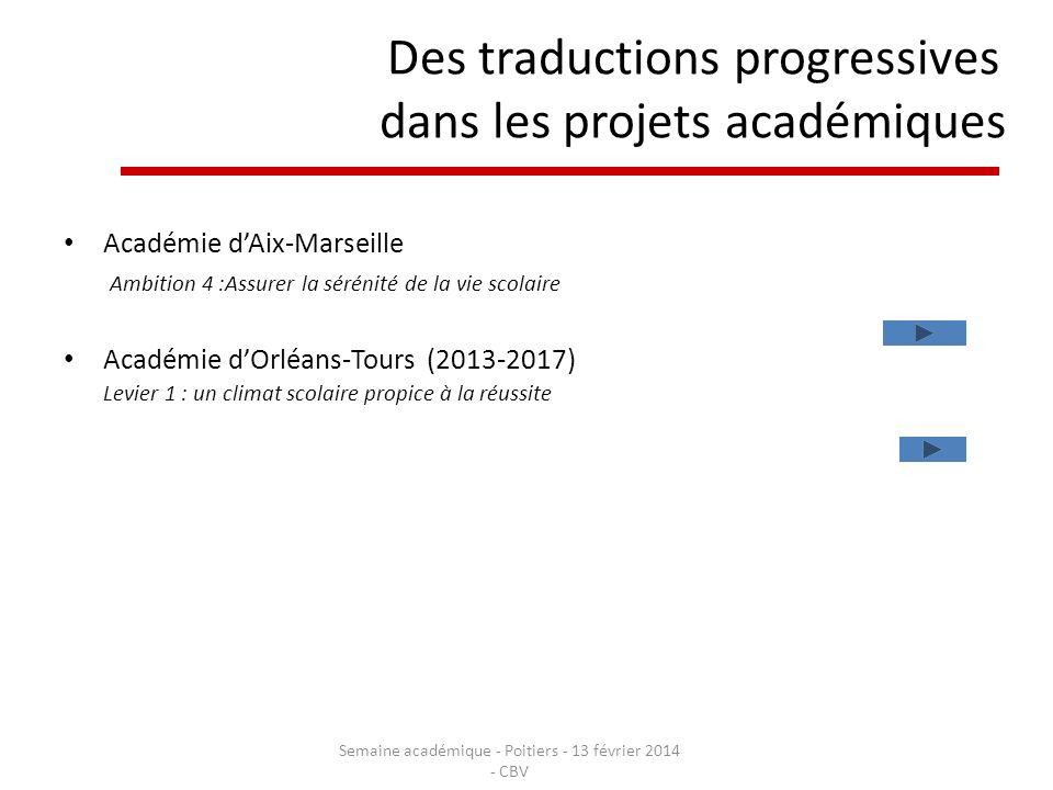 Des traductions progressives dans les projets académiques Académie dAix-Marseille Ambition 4 :Assurer la sérénité de la vie scolaire Académie dOrléans