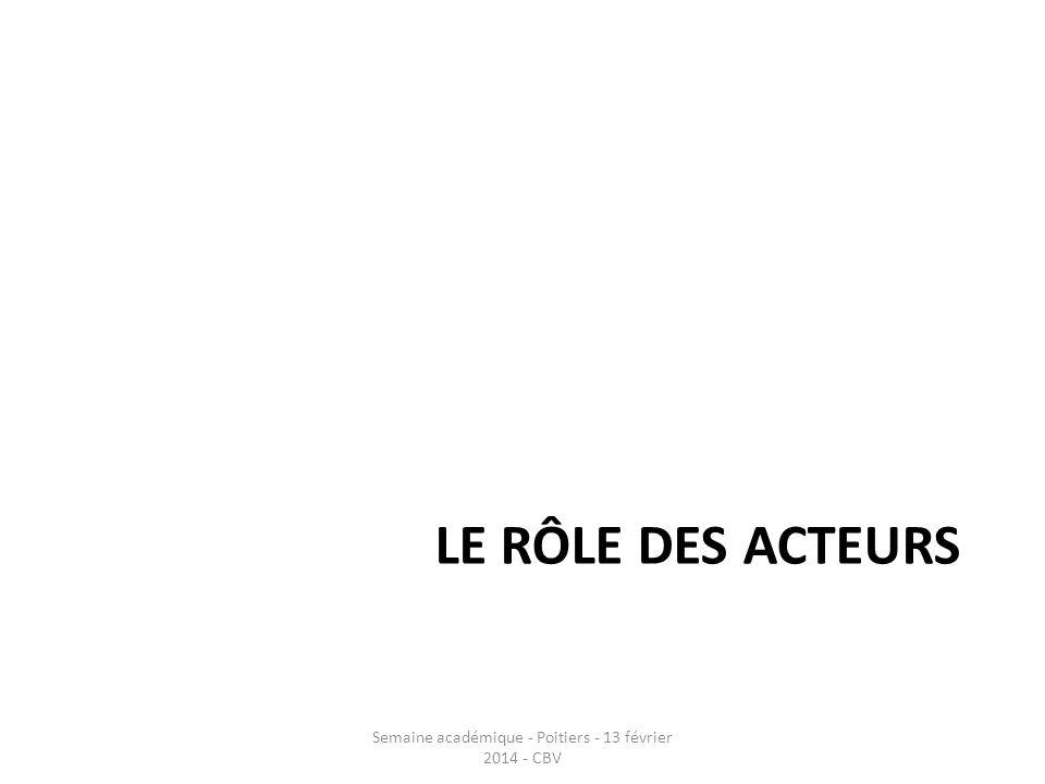 LE RÔLE DES ACTEURS Semaine académique - Poitiers - 13 février 2014 - CBV