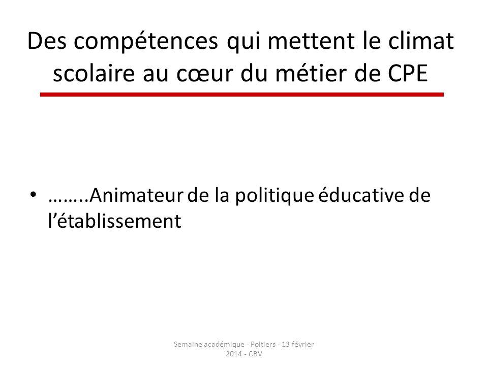 Des compétences qui mettent le climat scolaire au cœur du métier de CPE ……..Animateur de la politique éducative de létablissement Semaine académique -
