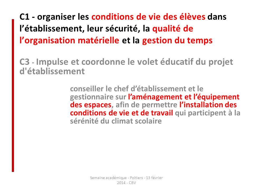 C1 - organiser les conditions de vie des élèves dans létablissement, leur sécurité, la qualité de lorganisation matérielle et la gestion du temps C3 -