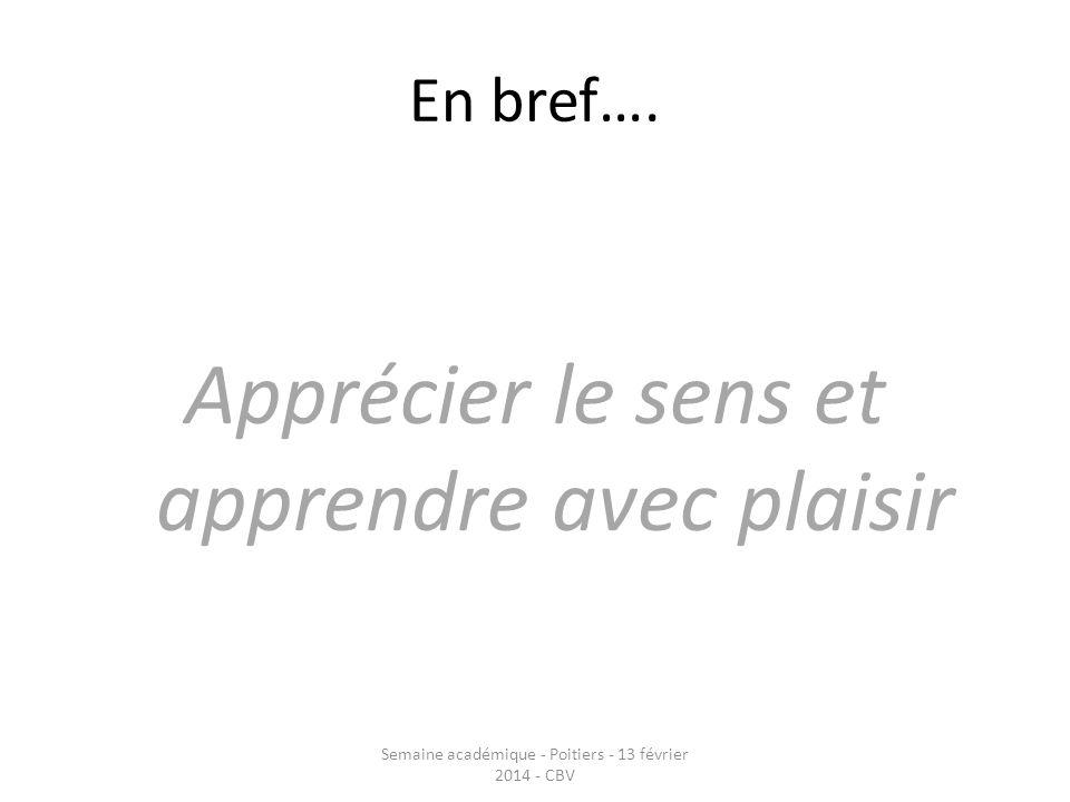 En bref…. Apprécier le sens et apprendre avec plaisir Semaine académique - Poitiers - 13 février 2014 - CBV
