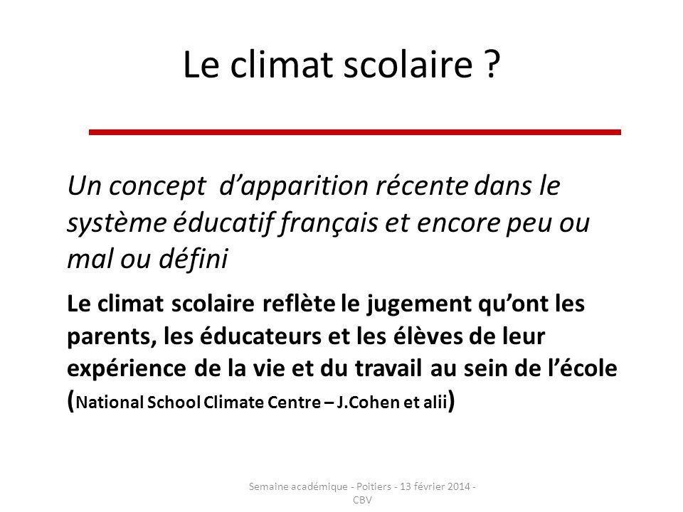Le climat scolaire ? Un concept dapparition récente dans le système éducatif français et encore peu ou mal ou défini Le climat scolaire reflète le jug