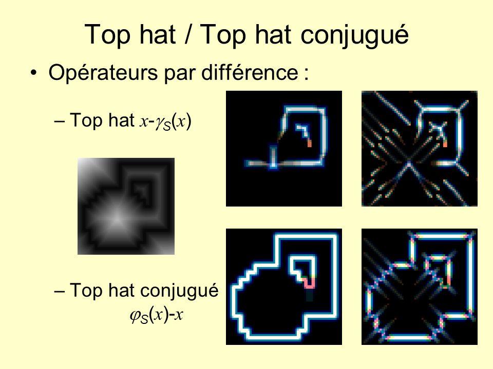 Top hat / Top hat conjugué Opérateurs par différence : –Top hat x - S ( x ) –Top hat conjugué S ( x )- x