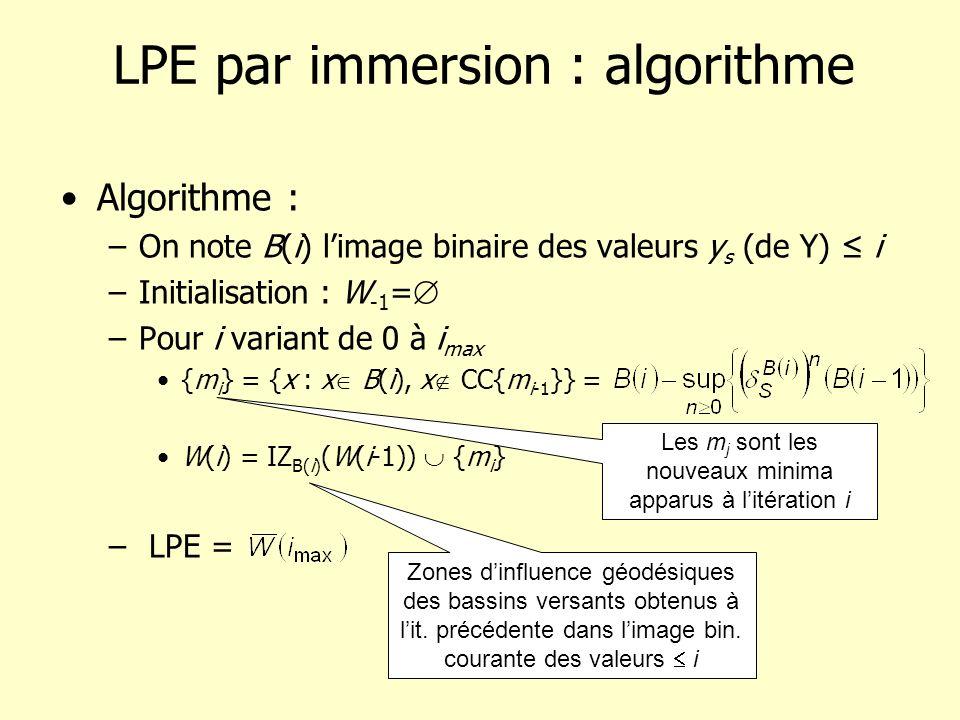 LPE par immersion : algorithme Algorithme : –On note B(i) limage binaire des valeurs y s (de Y) i –Initialisation : W -1 = –Pour i variant de 0 à i max {m i } = {x : x B(i), x CC{m i-1 }} = W(i) = IZ B(i) (W(i-1)) {m i } – LPE = Les m j sont les nouveaux minima apparus à litération i Zones dinfluence géodésiques des bassins versants obtenus à lit.