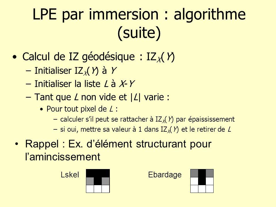 LPE par immersion : algorithme (suite) Calcul de IZ géodésique : IZ X (Y) –Initialiser IZ X (Y) à Y –Initialiser la liste L à X-Y –Tant que L non vide et |L| varie : Pour tout pixel de L : –calculer sil peut se rattacher à IZ X (Y) par épaississement –si oui, mettre sa valeur à 1 dans IZ X (Y) et le retirer de L Rappel : Ex.