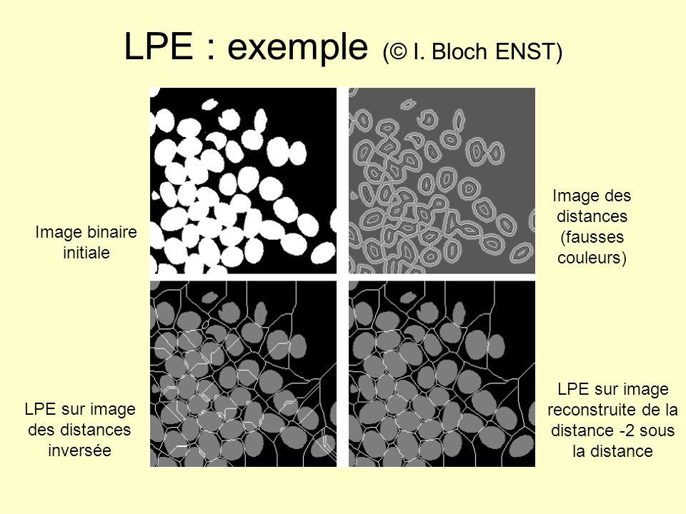 LPE : exemple (© I. Bloch ENST) Image binaire initiale Image des distances (fausses couleurs) LPE sur image des distances inversée LPE sur image recon