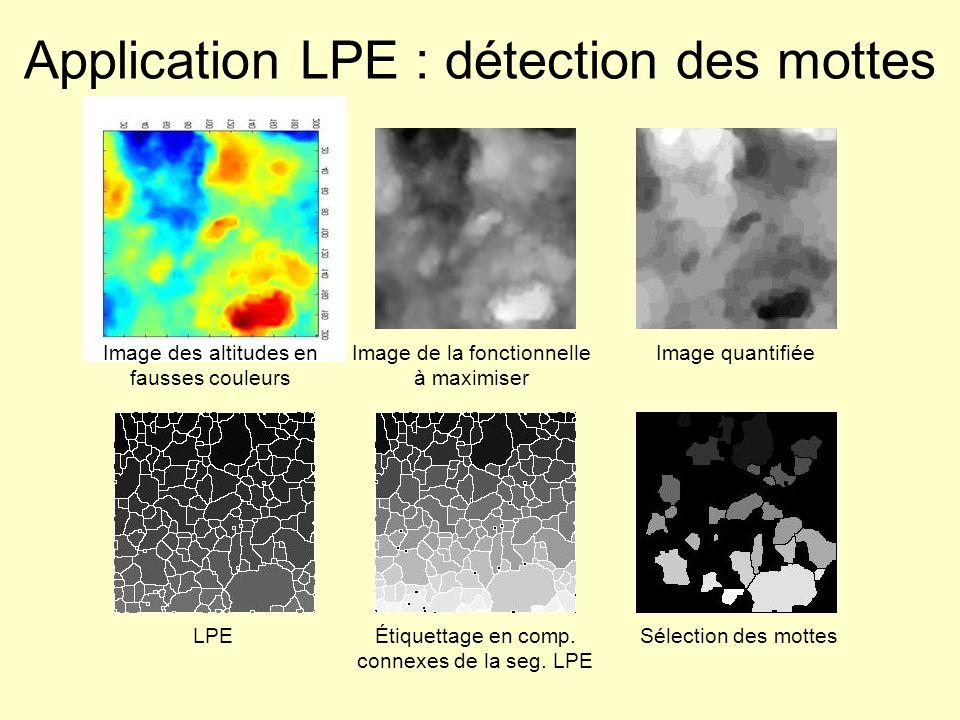 Application LPE : détection des mottes Image des altitudes en fausses couleurs Image de la fonctionnelle à maximiser Image quantifiée LPEÉtiquettage e