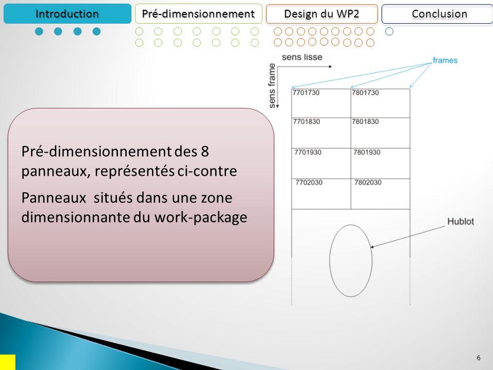 6 IntroductionPré-dimensionnement Design du WP2 Pré-dimensionnement des 8 panneaux, représentés ci-contre Panneaux situés dans une zone dimensionnante du work-package Pré-dimensionnement des 8 panneaux, représentés ci-contre Panneaux situés dans une zone dimensionnante du work-package Conclusion