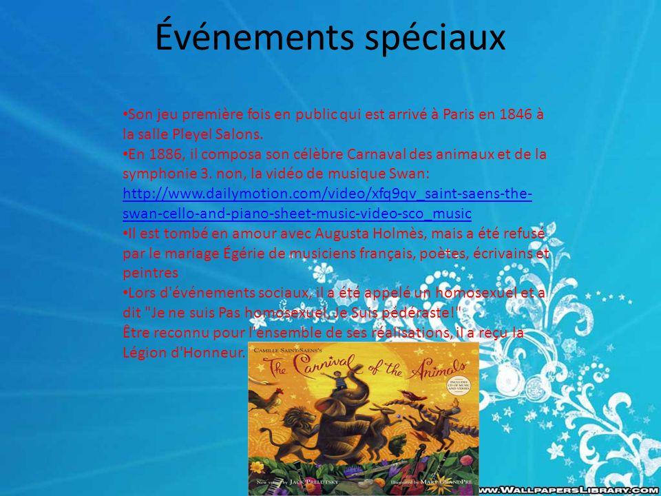 Événements spéciaux Son jeu première fois en public qui est arrivé à Paris en 1846 à la salle Pleyel Salons.