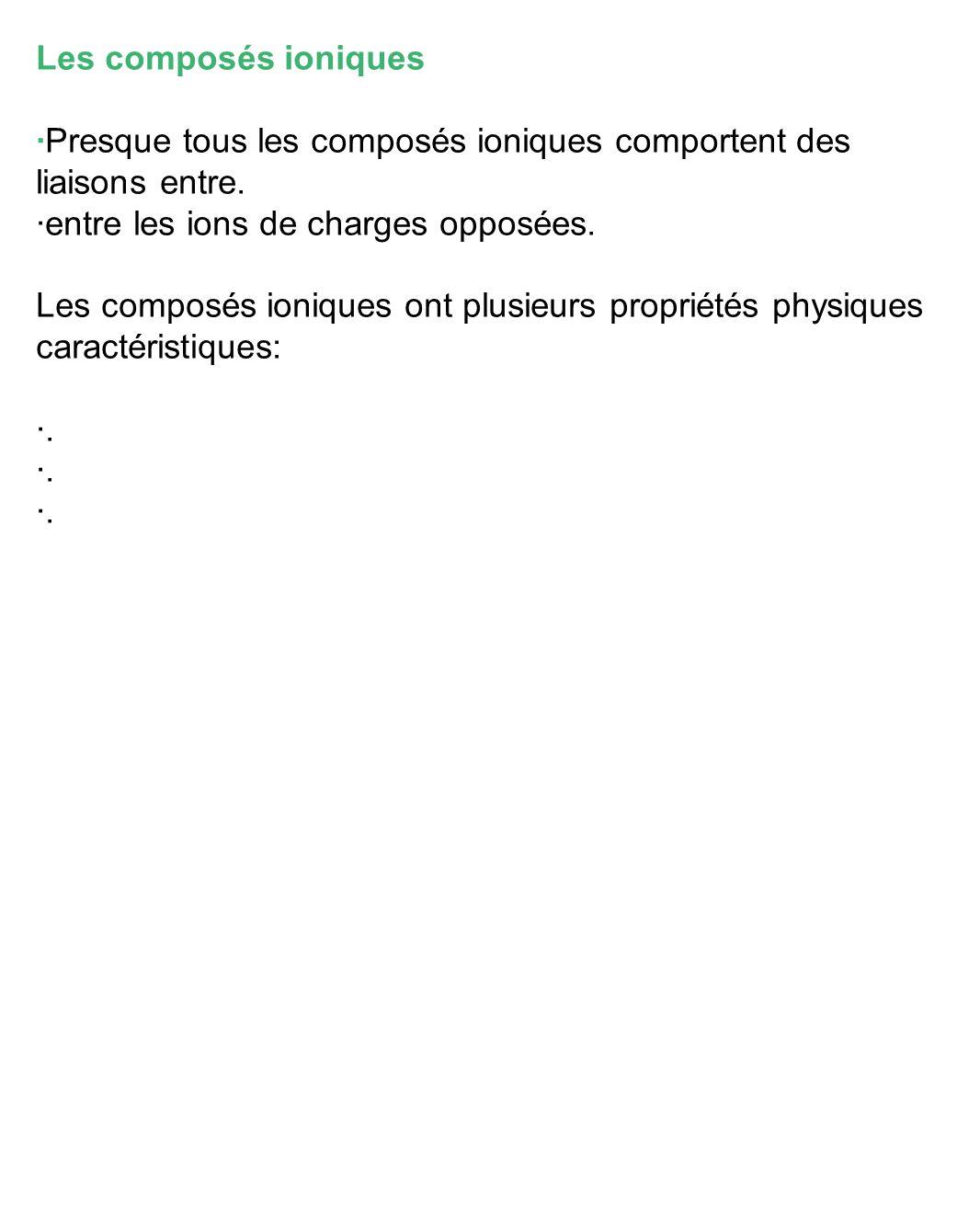 Les composés ioniques ·Presque tous les composés ioniques comportent des liaisons entre.