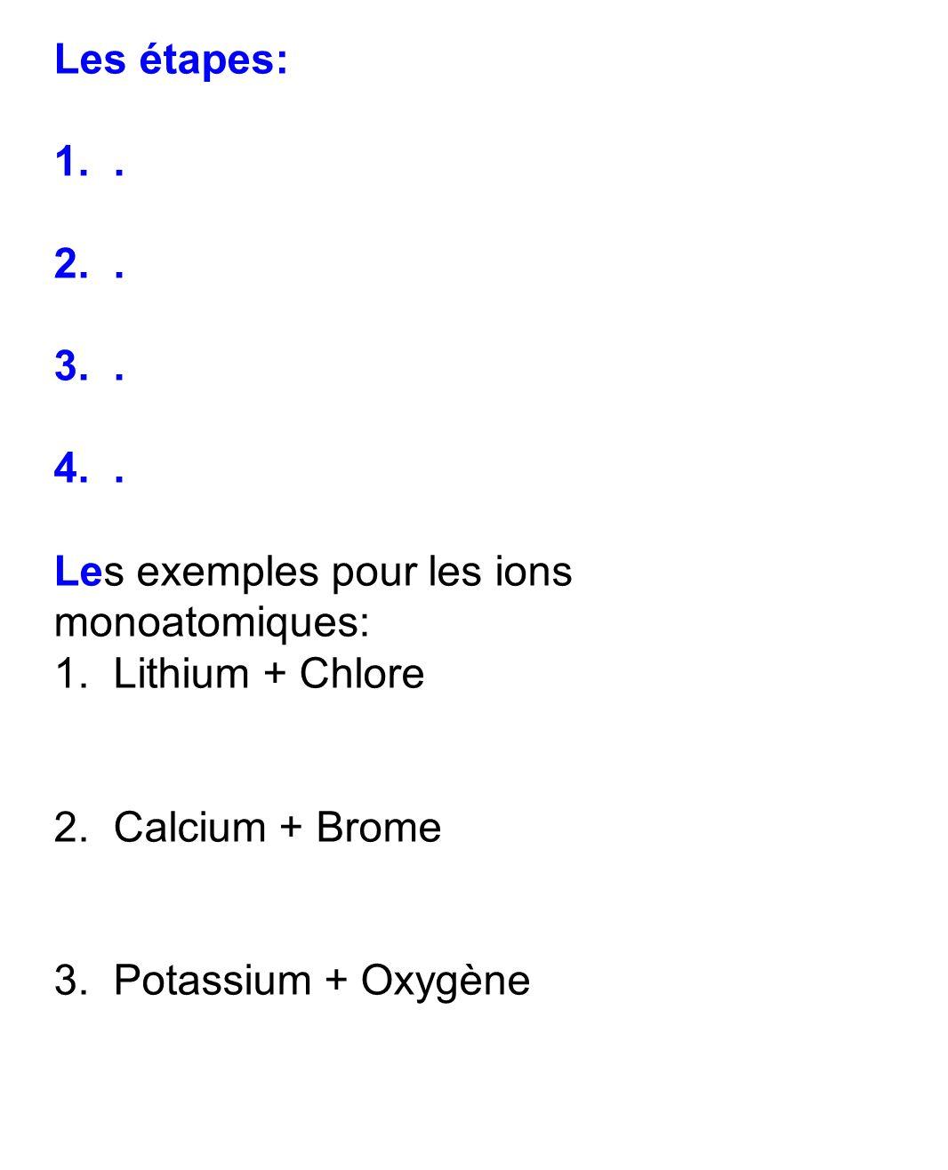 Les étapes: 1..2.. 3.. 4.. Les exemples pour les ions monoatomiques: 1.