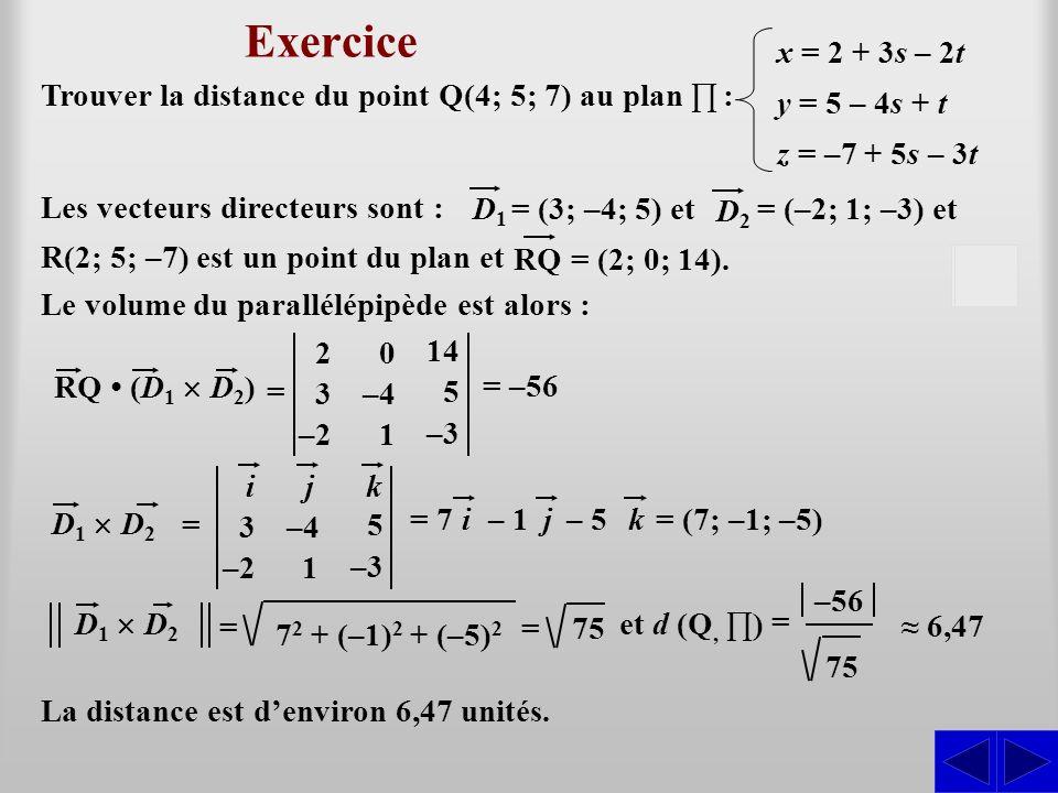 Exercice S La distance est denviron 6,47 unités. Le volume du parallélépipède est alors : 6,47 Trouver la distance du point Q(4; 5; 7) au plan : x = 2