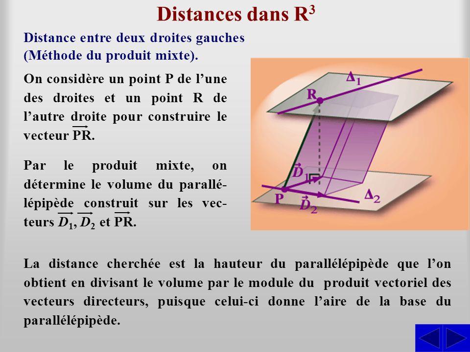 Distances dans R 3 Distance entre deux droites gauches (Méthode du produit mixte). La distance cherchée est la hauteur du parallélépipède que lon obti