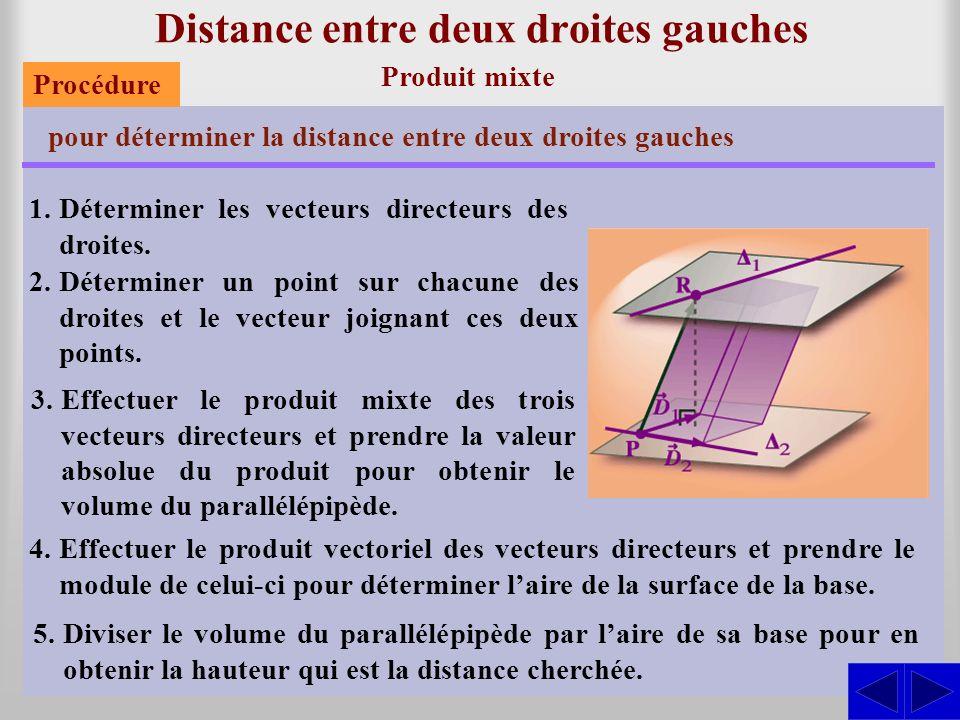 Distance entre deux droites gauches Produit mixte pour déterminer la distance entre deux droites gauches 1.Déterminer les vecteurs directeurs des droites.