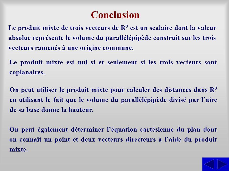 Conclusion Le produit mixte de trois vecteurs de R3 R3 est un scalaire dont la valeur absolue représente le volume du parallélépipède construit sur les trois vecteurs ramenés à une origine commune.