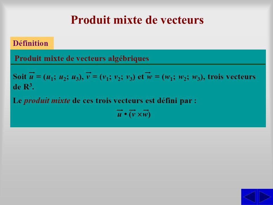 Produit mixte de vecteurs Le produit mixte de ces trois vecteurs est défini par : Définition Produit mixte de vecteurs algébriques u (v w) Soit u = (u 1 ; u 2 ; u 3 ), v = (v 1 ; v 2 ; v 3 ) et w = (w 1 ; w 2 ; w 3 ), trois vecteurs de R 3.