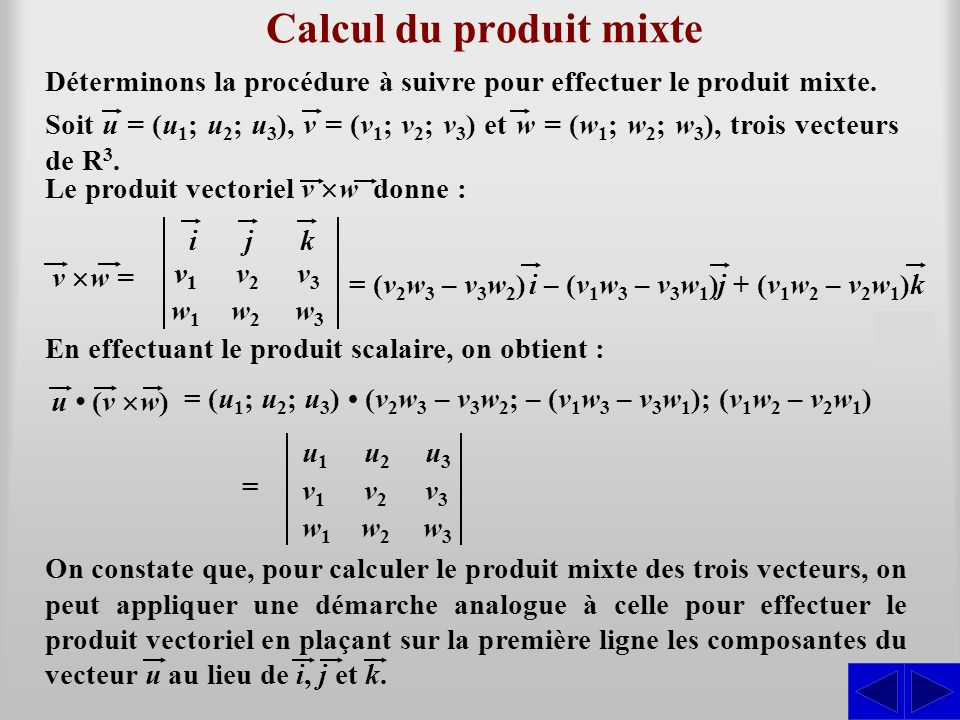 Calcul du produit mixte v w = S u (v w) Déterminons la procédure à suivre pour effectuer le produit mixte. = (v 2 w 3 – v 3 w 2 ) ijk v1v1 v2v2 v3v3 w