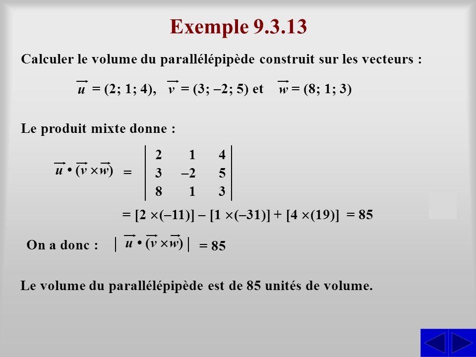 Exemple 9.3.13 u (v w) = 3–25 813 142 Calculer le volume du parallélépipède construit sur les vecteurs : u = (2; 1; 4), v = (3; –2; 5) et w = (8; 1; 3) S Le produit mixte donne : = [2 (–11)] – [1 (–31)] + [4 (19)] = 85 On a donc : u (v w) = 85 Le volume du parallélépipède est de 85 unités de volume.