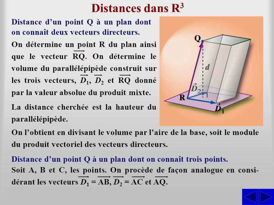Distances dans R 3 Distance dun point Q à un plan dont on connaît deux vecteurs directeurs. Distance dun point Q à un plan dont on connaît trois point