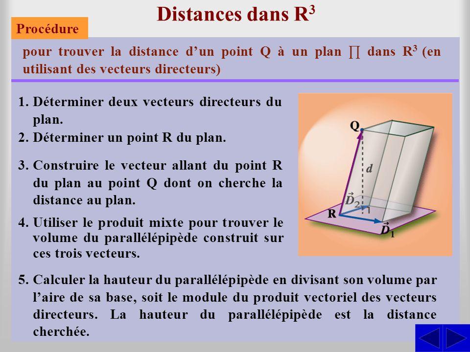 Distances dans R 3 pour trouver la distance dun point Q à un plan dans R 3 (en utilisant des vecteurs directeurs) 1.Déterminer deux vecteurs directeurs du plan.