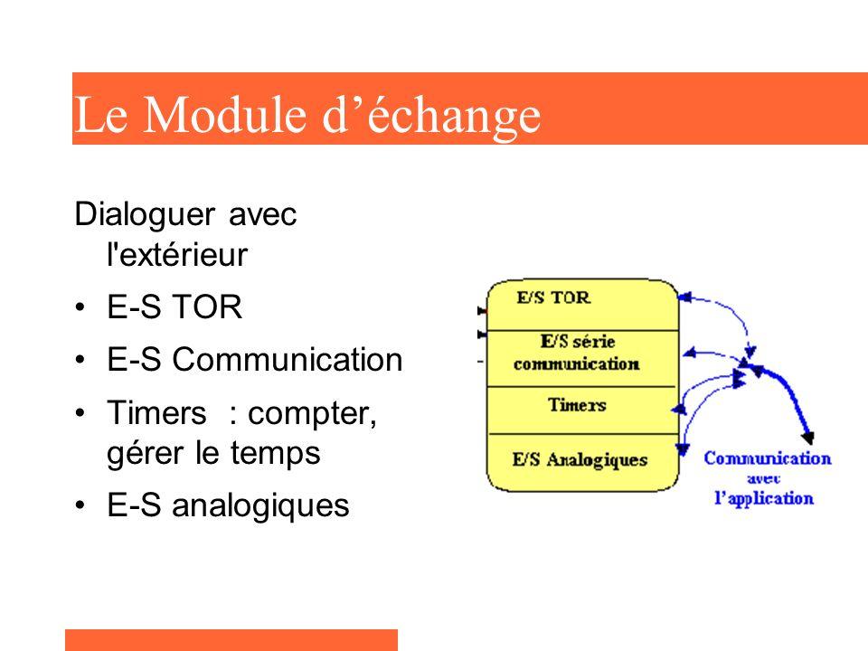 Le Module déchange Dialoguer avec l'extérieur E-S TOR E-S Communication Timers : compter, gérer le temps E-S analogiques