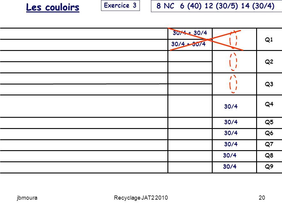 jbmouraRecyclage JAT2 201020 Q9 Q8 Q7 Q6 Q5 Q4 Q3 Q2 Q1 30/4 30/4 30/4 + 30/4 Exercice 3 Les couloirs 8 NC 6 (40) 12 (30/5) 14 (30/4)