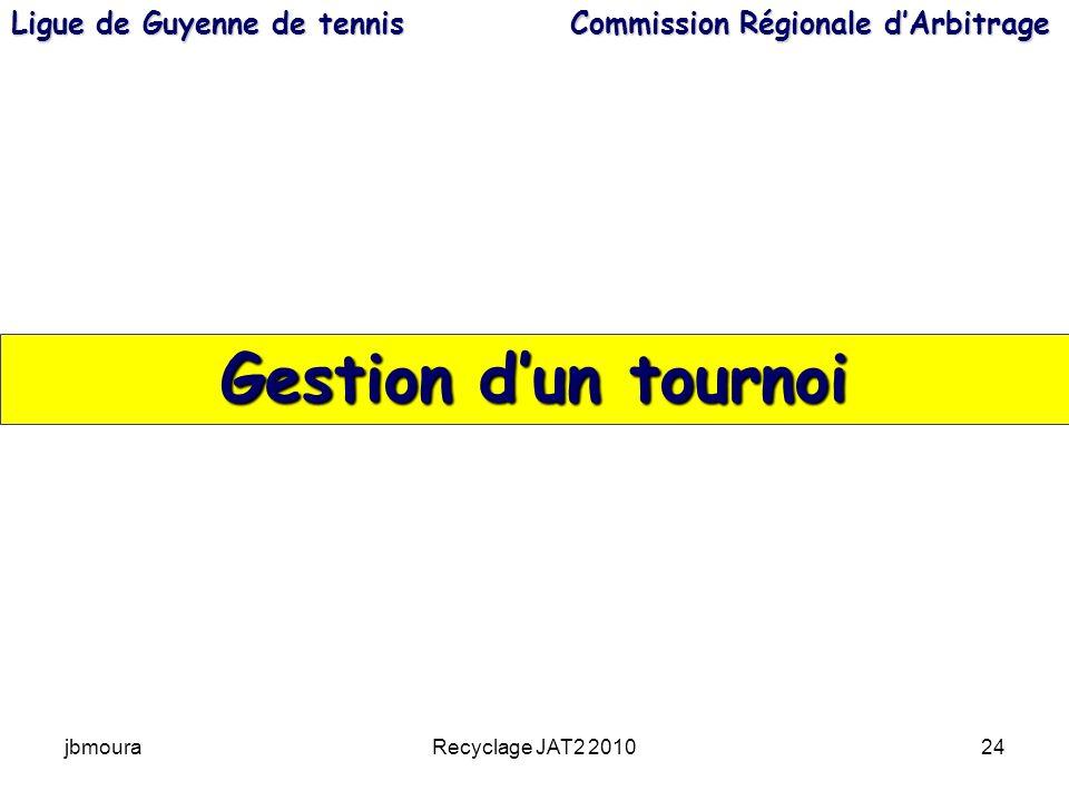 jbmouraRecyclage JAT2 201024 Gestion dun tournoi Ligue de Guyenne de tennis Commission Régionale dArbitrage