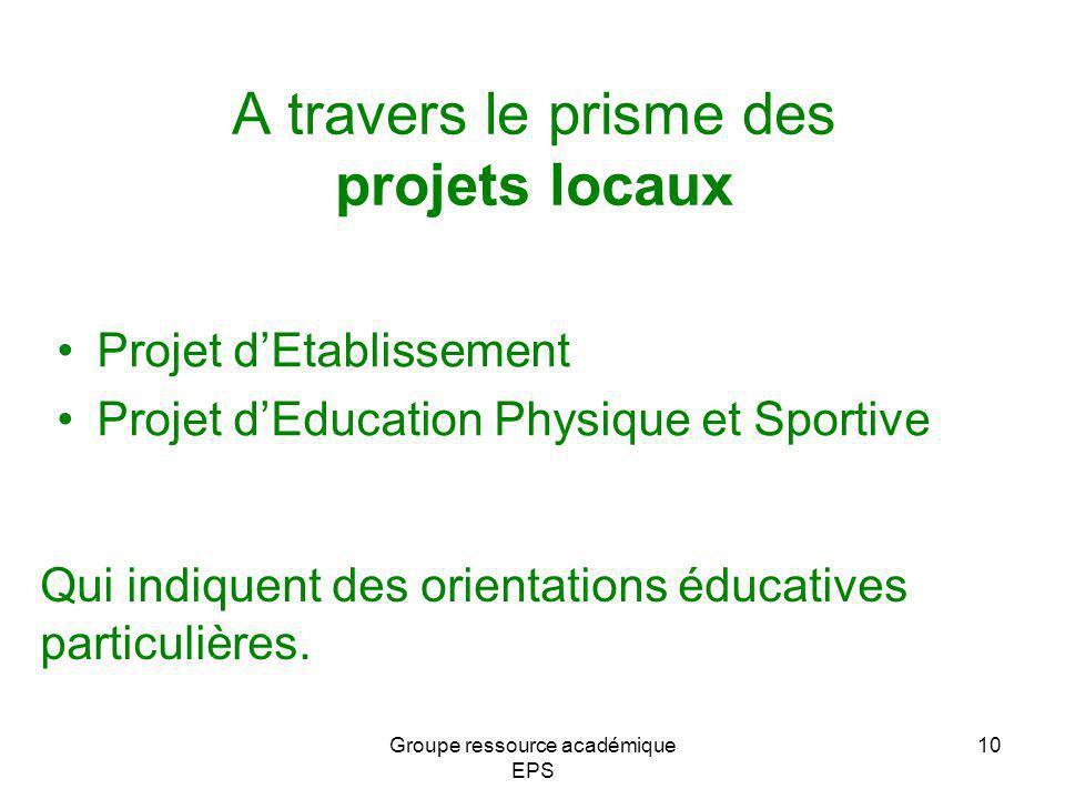 A travers le prisme des projets locaux Projet dEtablissement Projet dEducation Physique et Sportive Qui indiquent des orientations éducatives particul
