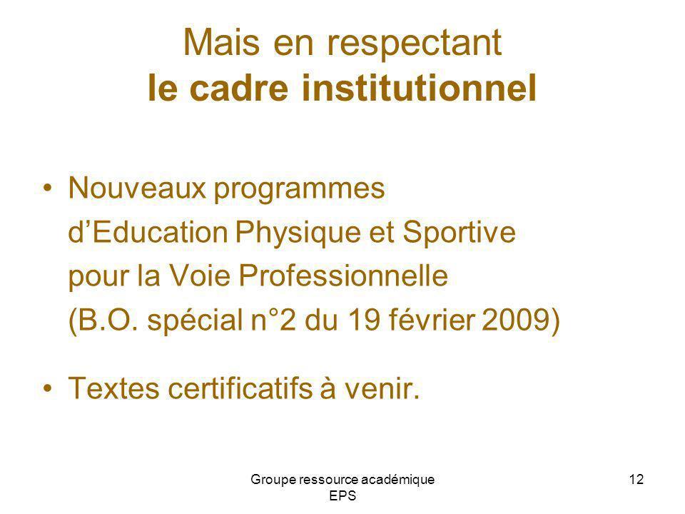 Mais en respectant le cadre institutionnel Nouveaux programmes dEducation Physique et Sportive pour la Voie Professionnelle (B.O. spécial n°2 du 19 fé