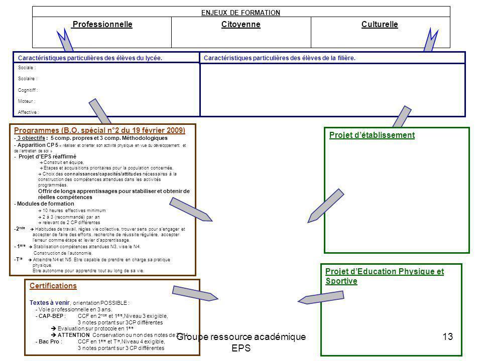 ProfessionnelleCitoyenneCulturelle ENJEUX DE FORMATION Projet dEducation Physique et Sportive Sociale : Scolaire : Cognitiff : Moteur : Affective : Ca