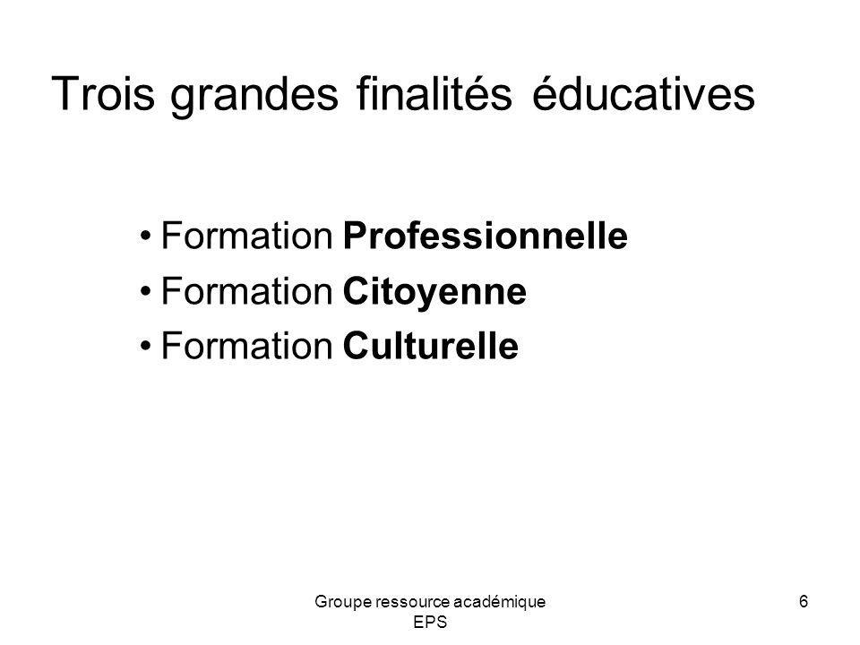 Trois grandes finalités éducatives Formation Professionnelle Formation Citoyenne Formation Culturelle 6Groupe ressource académique EPS