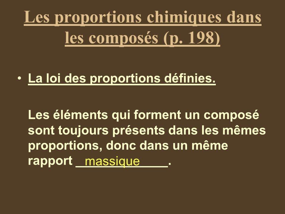 Les proportions chimiques dans les composés (p. 198) La loi des proportions définies. Les éléments qui forment un composé sont toujours présents dans