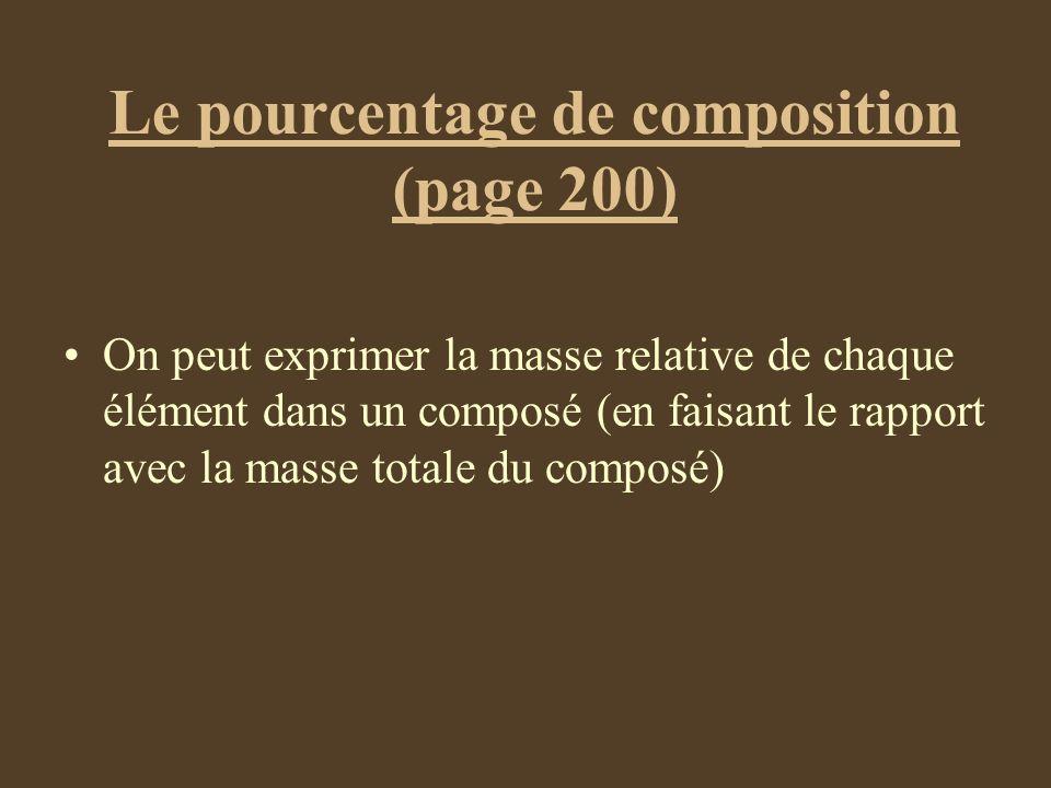 Le pourcentage de composition (page 200) On peut exprimer la masse relative de chaque élément dans un composé (en faisant le rapport avec la masse tot