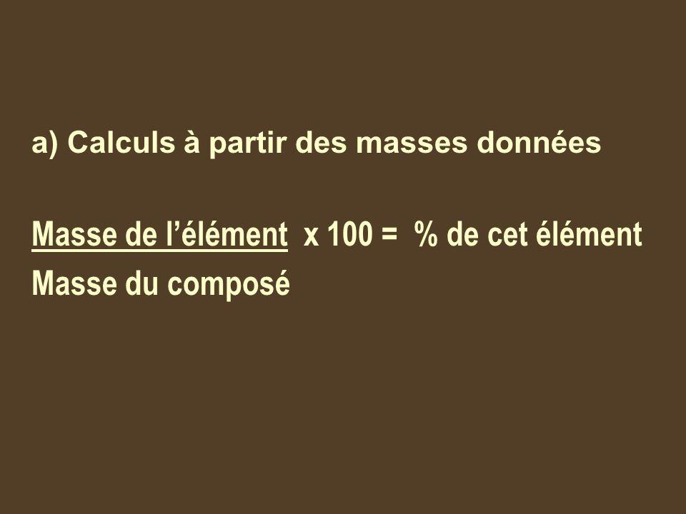 Ex : 27.27g dun composé renferme 13.07 g de zinc et 14.2 g de chlore, quel est son pourcentage de composition.