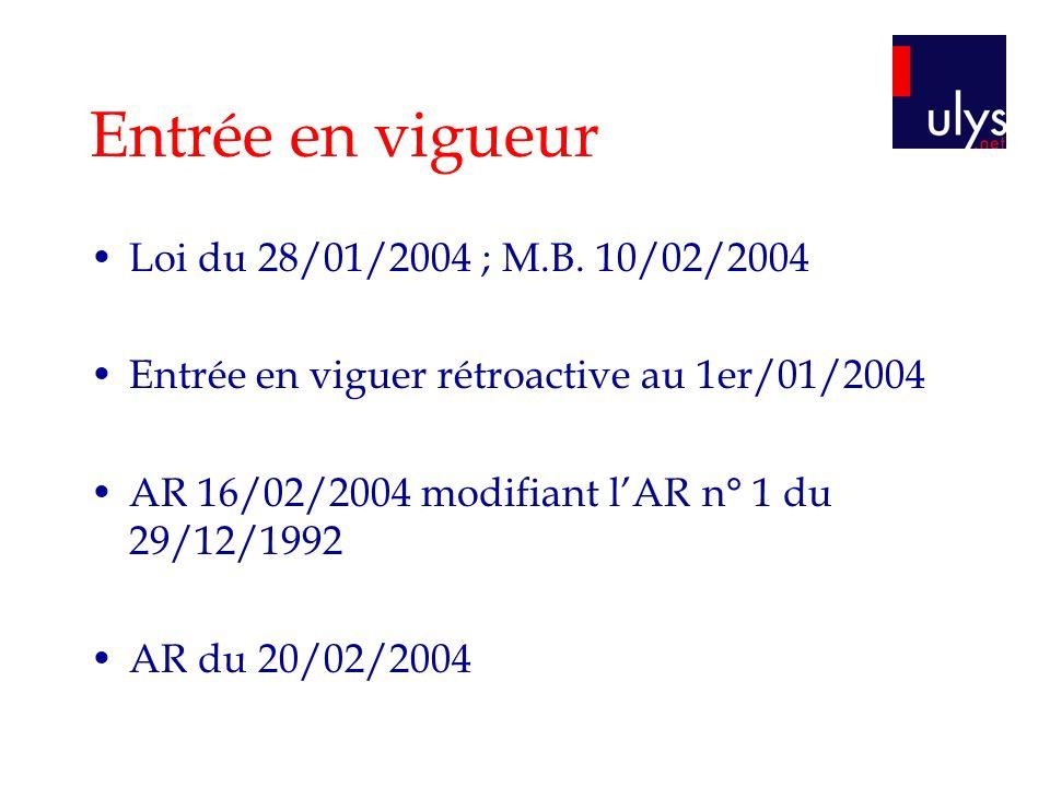 Entrée en vigueur Loi du 28/01/2004 ; M.B. 10/02/2004 Entrée en viguer rétroactive au 1er/01/2004 AR 16/02/2004 modifiant lAR n° 1 du 29/12/1992 AR du