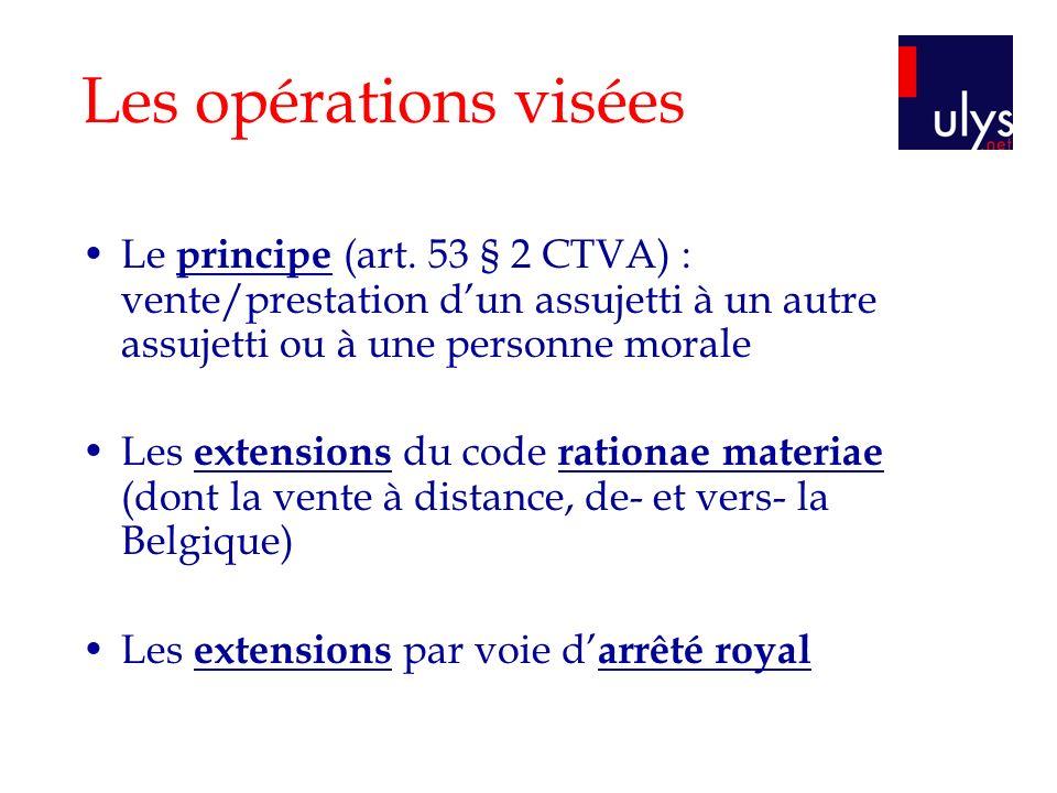 Les opérations visées Le principe (art. 53 § 2 CTVA) : vente/prestation dun assujetti à un autre assujetti ou à une personne morale Les extensions du