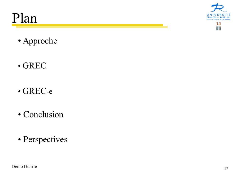 17 Denio Duarte Approche GREC GREC -e Conclusion Perspectives Plan
