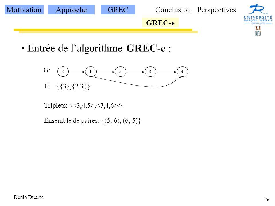 76 Denio Duarte Entrée de lalgorithme GREC-e : 12340 G: H: {{3},{2,3}} Triplets:, > Ensemble de paires: {(5, 6), (6, 5)} MotivationApprocheGREC GREC-e ConclusionPerspectives