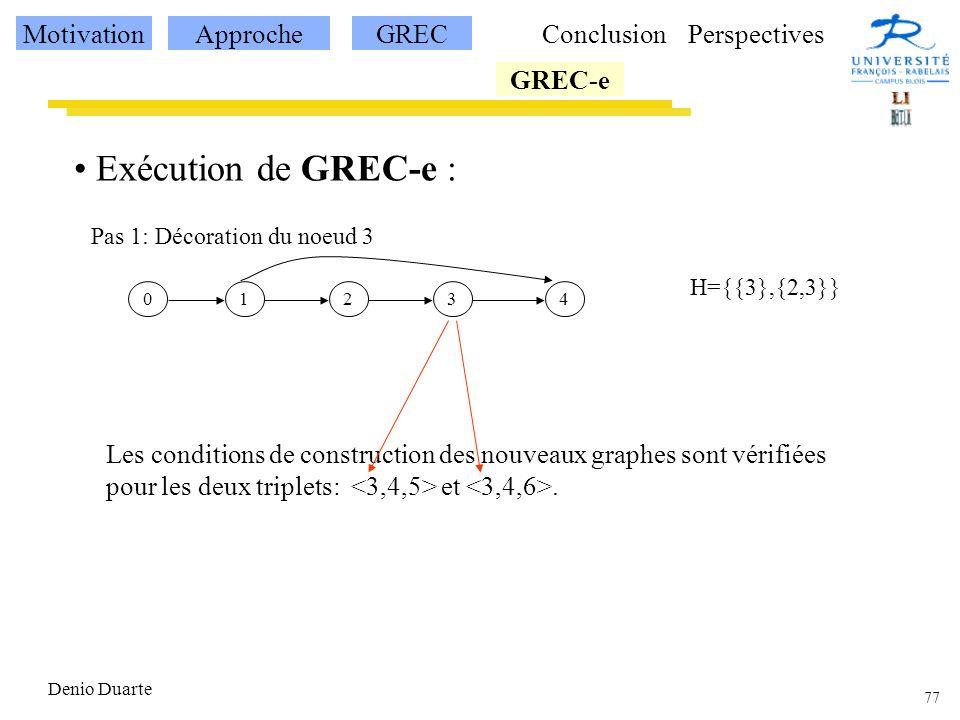 77 Denio Duarte Exécution de GREC-e : 12340 H={{3},{2,3}} Pas 1: Décoration du noeud 3 Les conditions de construction des nouveaux graphes sont vérifiées pour les deux triplets: et.