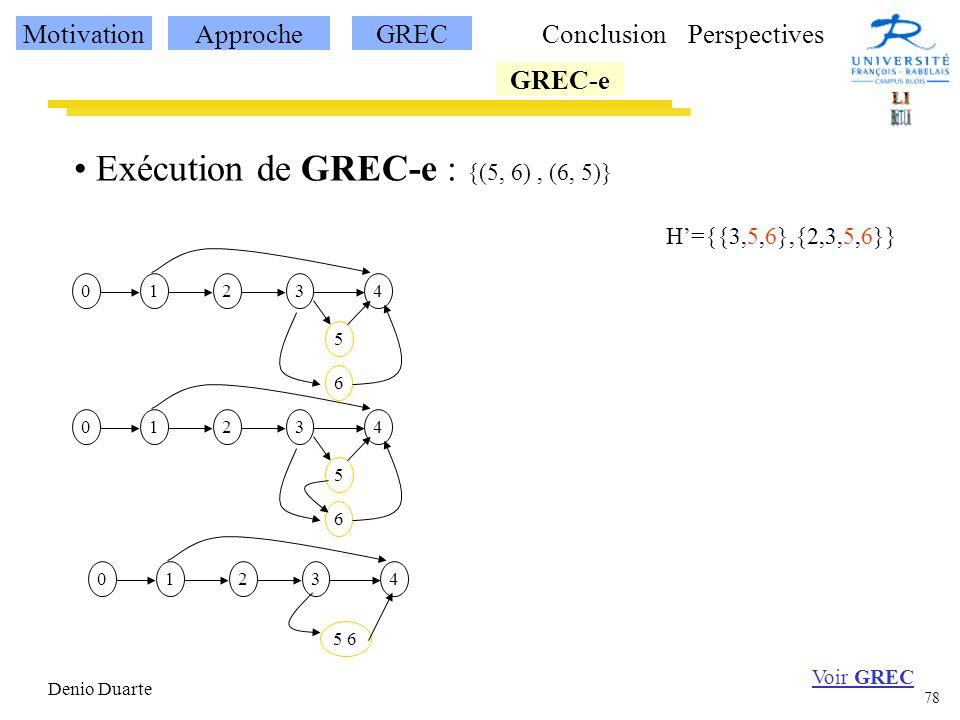 78 Denio Duarte Exécution de GREC-e : {(5, 6), (6, 5)} 12340 5 6 12340 5 6 12340 5 6 Voir GREC H={{3,5,6},{2,3,5,6}} MotivationApprocheGREC GREC-e ConclusionPerspectives